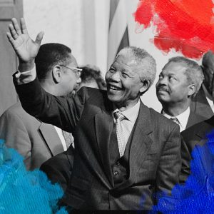 Foto: Keating, Maureen (1994) President of South Africa, Nelson Mandela with members of the Congressional Black Caucus including Representative Kweisi Mfume, at an event at the Library of Congress. Gedownload en bewerkt door MijnDeugden.nl voor Blog Kun jij een rolmodel zijn? op 21-09-2017. https://www.loc.gov/item/2015645189/