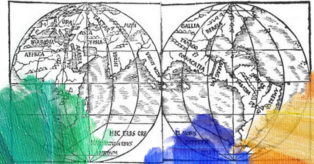 Prent: Monachus (1527) A map of the world. Gedownload en bewerkt door MijnDeugden.nl 06-07-2017. https://commons.wikimedia.org/wiki/File:Monachus_1527_globe_map_01.png